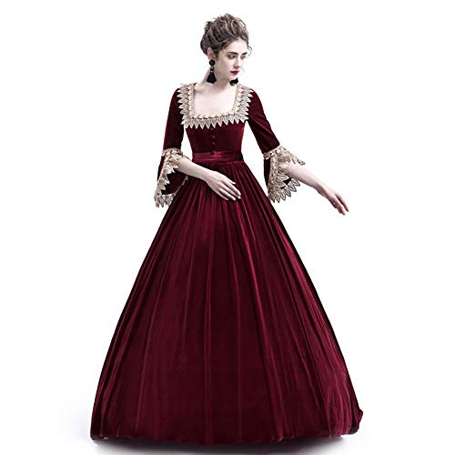 Liyukee Medieval Square Collar Maxi Dress Women Vintage Velvet Theatrical Victorian Dress Slim...