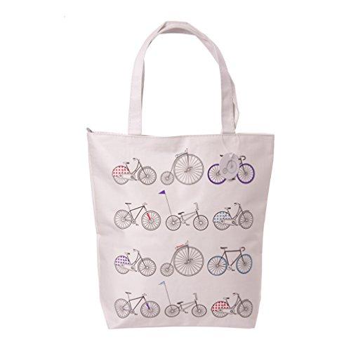 Preisvergleich Produktbild Baumwolltasche mit Motiv Fahrrad und Reißverschluss