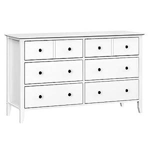 VASAGLE Kommode mit 6 Schubladen, Schubladenkommode, Rahmen aus Massivholz, Aufbewahrung fürs Badezimmer, Schlafzimmer, Kinderzimmer, weiß RCD02WT