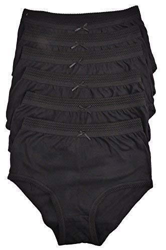 femmes 6 paires de COMPLET COTON SLIP EN choix de couleurs 91.4-137cm GRANDES TAILLES - Noir, 40-42