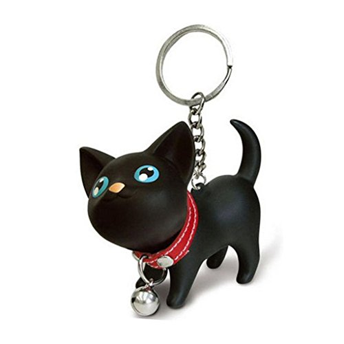 Kolylong lovely Cat Kitten Keychain Keyring Bell Toy Lover Key Chain Rings For Handbag (Black)