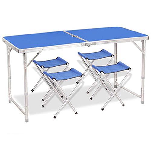 CHENGGUO Table Pliante Multifonctions extérieure, Table Pliante en Aluminium de Voyage, Table Pliante Multifonctions Portable à Hauteur réglable et Jeu de chaises (Couleur : Bleu, Taille : B)