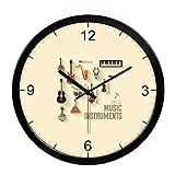 Oudan Wanduhr Nicht Ticken Anzahl Quarz Wanduhr Wohnzimmer Dekorative Innen Uhr Schlafzimmer Uhr Küchenuhr 12-Zoll Moderne Einfache Stummschaltung Kreativen Kreis, Klavier Schwarz-Weiß Metallbox