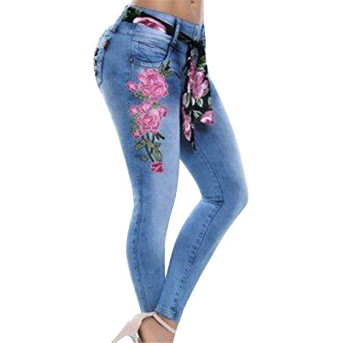 9e8e9b7b31109 RACEER Womens Jeans Skinny Jeans Fashion Floral Embroidery Pencil Denim  Pants Casual High Waist Ladies Jeans