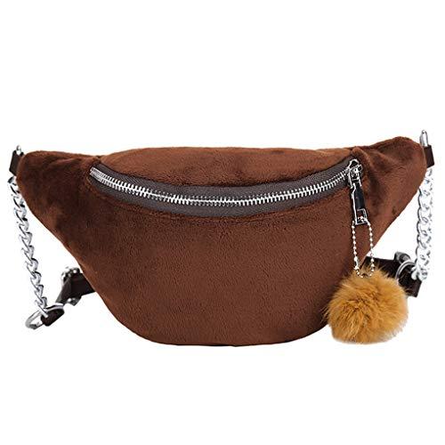 Dorical Multifunktionale Messenger Brusttasche für Damen und Herren/Crossbody Bauchtasche mit Hairball Verstellbare Gürtel Hip Bum Tasche Bauchtasche Running Reißverschluss Geldbeutel (Braun)