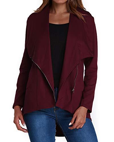 ACHIOOWA Damen Blazer Kurzjacke Langarmshirt Lose Oberteil Mantel Business Büro Jacke Anzug A01488-Weinrot L