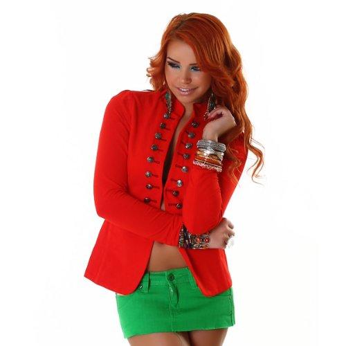 Trendy Blazer dans le style militaire (J117) Rouge