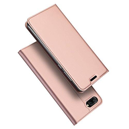 DUX DUCIS Huawei Honor 10 Hülle,Flip Folio Handyhülle [Standfunktion] [1 Kartenfach] [Magnet] [Anti-Rutsch] Ultra Dünn Ledertasche Schutzhülle Case Cover für Huawei Honor 10 (Rose Golden)