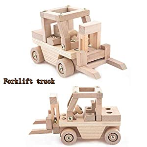 Culater Trend DIY Creative Light Weight Wooden Building Modeling Kit Children Gift Toy Wooden Car