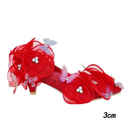 QPYC Scarpe da sposa per le donne scarpe da sposa per adulti Scarpe da sposa in cristallo di sposa in puro scarpe da sposa delle donne fidanzate Fiori bianchi farfalla 3cm red