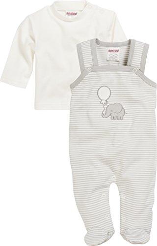 Schnizler Unisex Baby Strampler Set Elefant Geringelt, 2-Tlg. mit Langarmshirt, Oeko-Tex Standard 100, Beige (Natur 2), 68