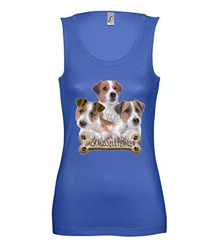 Artdiktat Damen Tanktop - JACK RUSSELL WITH BONE Größe XL, blau Blaue Jack Hundefutter