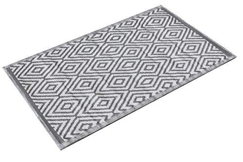 Kamaca Outdoor Teppich Raute für Terrasse Balkon Camping Garten - 90 x 150 cm - pflegeleicht robust witterungsbeständig - auch fürs Badezimmer und alle Nassräume geeignet (Grau)