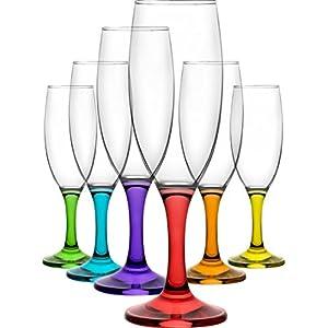 Flute da champagne Misket Coral, con calici colorati, da 190 ml, set da 6 pezzi, confezione regalo