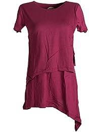 Vishes - Alternative Bekleidung – Asymetrisches, zipfeliges, double layer Elfenkleid im Lagenlook aus Baumwolle