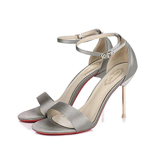 Seide römische high heels/Metall fein mit dem wort wölbung offenen sand sandalen C