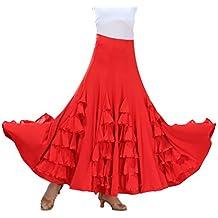 Tookang Flamenco Sevillanas Falda de Baile Moderno Vals Falda de Baile de Salón Practicar Falda Larga
