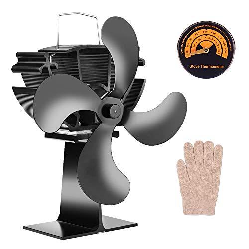 Ventilador de estufa HQQNUO 4 aspas de funcionamiento silencioso con ventilador de chimenea, ventilador de quemador de leña alimentado por calor para leña/quemador de troncos/chimenea