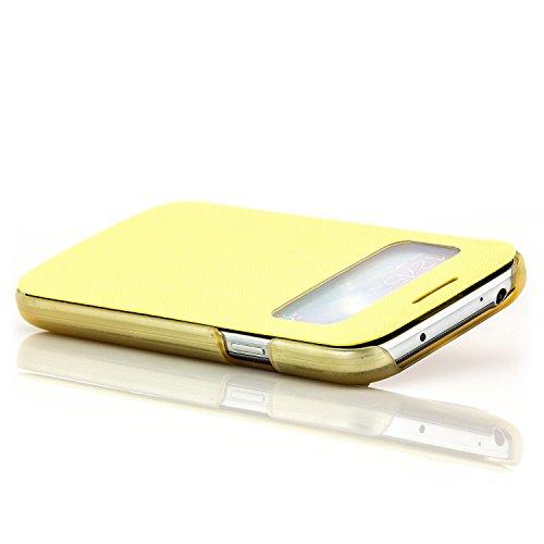 Coque Apple iPhone 6 6S [Saxonia] Etui Housse Protection Ultra Mince Case Flip View Cover avec Fenêtre Pink Jaune