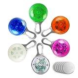 Kyerivs Hunde Leuchtanhänger,LED Blinklicht Schlüsselanhänger 3 Blinkmodis Hundekrawatte Hundehalsband für Outdoor-Sicherheit 6 Pack (6 Ersatz im Lieferumfang Enthalten). (6Pack)
