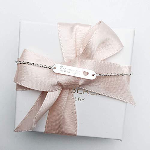 Armband mit Namen Gravur | ID Armband | Personalisierte Geschenke | Individuelle Wunschgravur | Personalisierter Schmuck | Trauzeugin Armband in Schmuckverpackung als Geschenk
