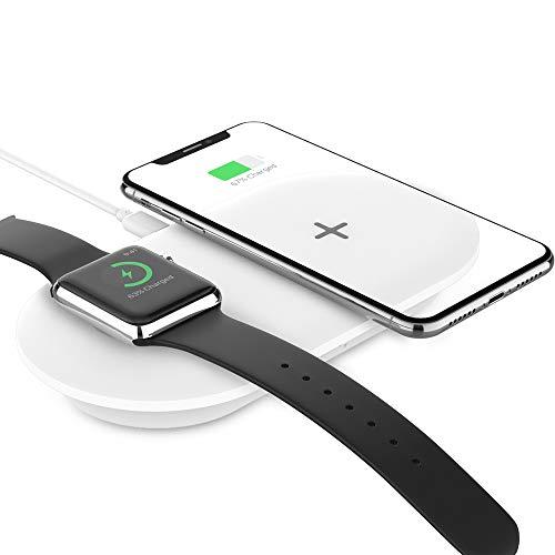 TATEGUARD kompatibel i'Phone&i'Watch 2-in-1 Kabelloses Ladegerät Qi-zertifiziert Lade-Base Schnelles Laden für i'Phone XS/XS Max/XR/X/8Plus Air'Pods mit kabellosem Ladecase iWatch Serien 4/3/2/1 Weiß Iphone Base