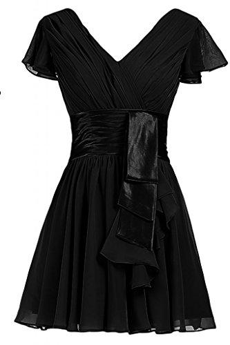 Sunvary una linea Spring, abiti da damigella d'onore Homecoming-Cartamodello per vestiti A maniche corte con collo A V Black