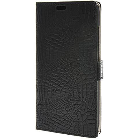 MOONCASE per Huawei Ascend G8 Case modello del serpente Leather Custodia in pelle Flip Case Protettiva Portafoglio Cover Nero 04
