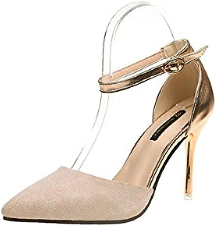 Hechizo de moda femenina color Sandalias punta ultra alta con zapatos de mujer Tide, Beige 36