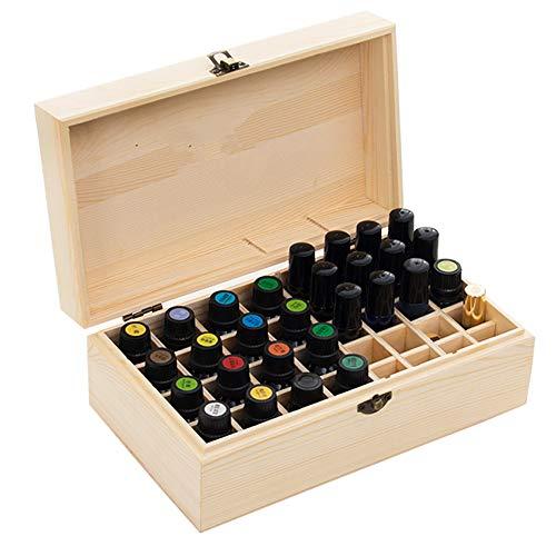 MUUZONING Aromatherapie ätherisches Öl Display Ständer Gestell Halter Organisator, 36 Löcher Holz Box Veranstalter Aufbewahrung Koffer für Nagellack, Duftöle, Stain und Lippenstift #2