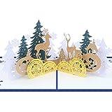 Grußkarte XINGUANG Handgemachte Weihnachten Forest Deer Stereo Karte Weihnachtskarte