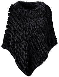 Ferand - Poncho Elegante Mantella Casdo Inverno A Maglia in Pelliccia Vera di Coniglio con Colletto in Pelliccia di Procione - Donna