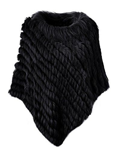 Ferand - poncho elegante mantella casdo inverno a maglia in pelliccia vera di coniglio con colletto in pelliccia di procione - donna - taglia unica - nero