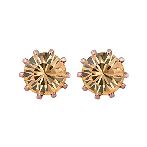 Princess Earrings Rose Gold Plated With Swarovski Crystal Light Colorado Topaz