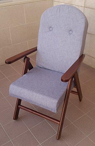 Fauteuil chaise chaise longue en bois inclinable 4 positions coussin rembourré H 105 cm séjour cuisine salon canapé