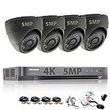 Hikvision Überwachungskamera-Set mit4Kanälen, 5MP, Sicherheitssystem, 4K H.265+4XSony, CMOS, TVI, Full-HD, Metallgehäuse, IP66,wasserdicht, Innen- und Außenbereich, Dome-Kameras, 20m, IR, Nachtsicht, P2P, kein HDD, Grau, ds-7204huhi-k1