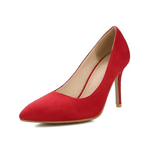 VogueZone009 Donna Tirare Tacco Alto Pelle Di Mucca Puro Scarpe A Punta Punta Chiusa Ballerine Rosso