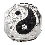 Yin Yang Charm avec pierre porte-bonheur Cristal Noir et blanc perle en argent sterling 925pour bracelet à charms européen