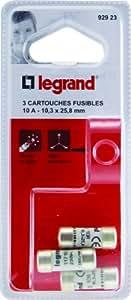 Legrand LEG92923 3 Cartouches Fusibles 10 A 10,3 x 25,8