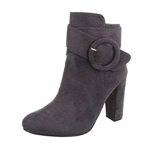 Chaussures femme Bottes et bottines Kitten-Heel Bottines High Heels Ital-Design gris 77-2