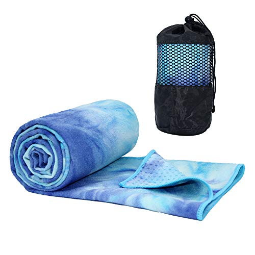 ATIVAFIT Yoga Handtuch Fitnesstuch mit Silikageln - Weich, Atmungsaktiv, rutschfest & Schnelltrocknend - Antirutsch Yogatuch mit hoher Bodenhaftung, tragbares Yogahandtuch für Yoga 188 x 64 cm