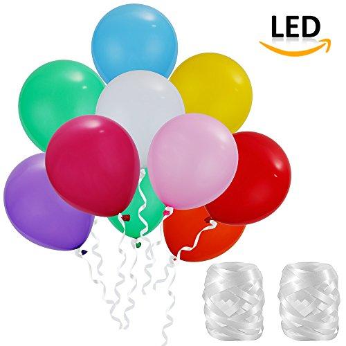 LED Ballons, Lictin 50 Stück LED Leuchtende Luftballons Blinkendes Licht Ballons mit 2 Faden, für Halloween, Weihnachten, Geburtstagsfeiern, Party, (Lichter Led Halloween)