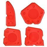 4 Pezzi Strumento di Sigillante Set Silicone Sigillante Raschietto Grout Strumento per Sigillante Siliconico Sigillante per Finitura, Rosso