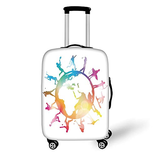 Travel Luggage Cover Suitcase Protector,World Map,Golf Football Baseball Archery Basketball Players On Globe Picture,Pink Orange Light Blue,for Travel -