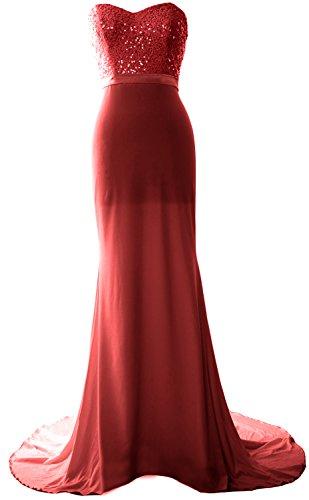 MACloth Women Mermaid Bridesmaid Dress Jersey Sequin Wedding Party Evening Gown Burgunderrot