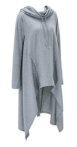Bigood Robe Pull Long Capuche Sweat-shirt Femme T-shirt Top Manche Longue Casual Mode Gris