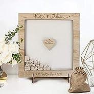 Libro degli ospiti per matrimonio personalizzato legno cornice cuori lanciati vintage nascita Matrimonio Guest