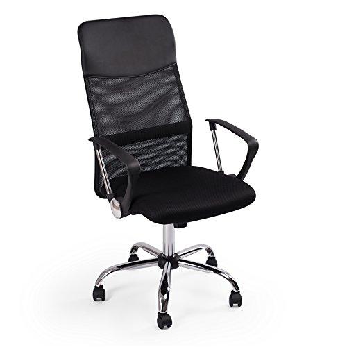 Sedia da ufficio poltrona scrivania - direzionale girevole | ergonomica | ruote bloccanti e braccioli | altezza e inclinazione regolabile | in pelle artificiale e nylon traspirante | color nero