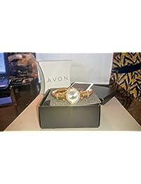 Rhinestone Embellished Cuerda Cuff Reloj Avon Dorado puños Cara Redonda