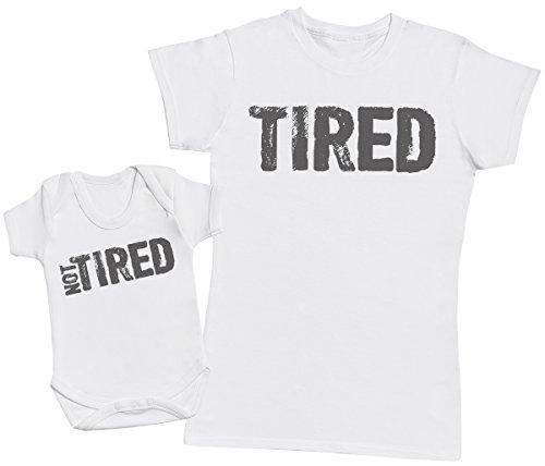 Passende Mutter Baby Geschenk Set - Damen T-Shirt & Baby Strampler - Weiß - M & 74 (6-12 Monate) (Lustigen Erwachsenen-strampelanzug)